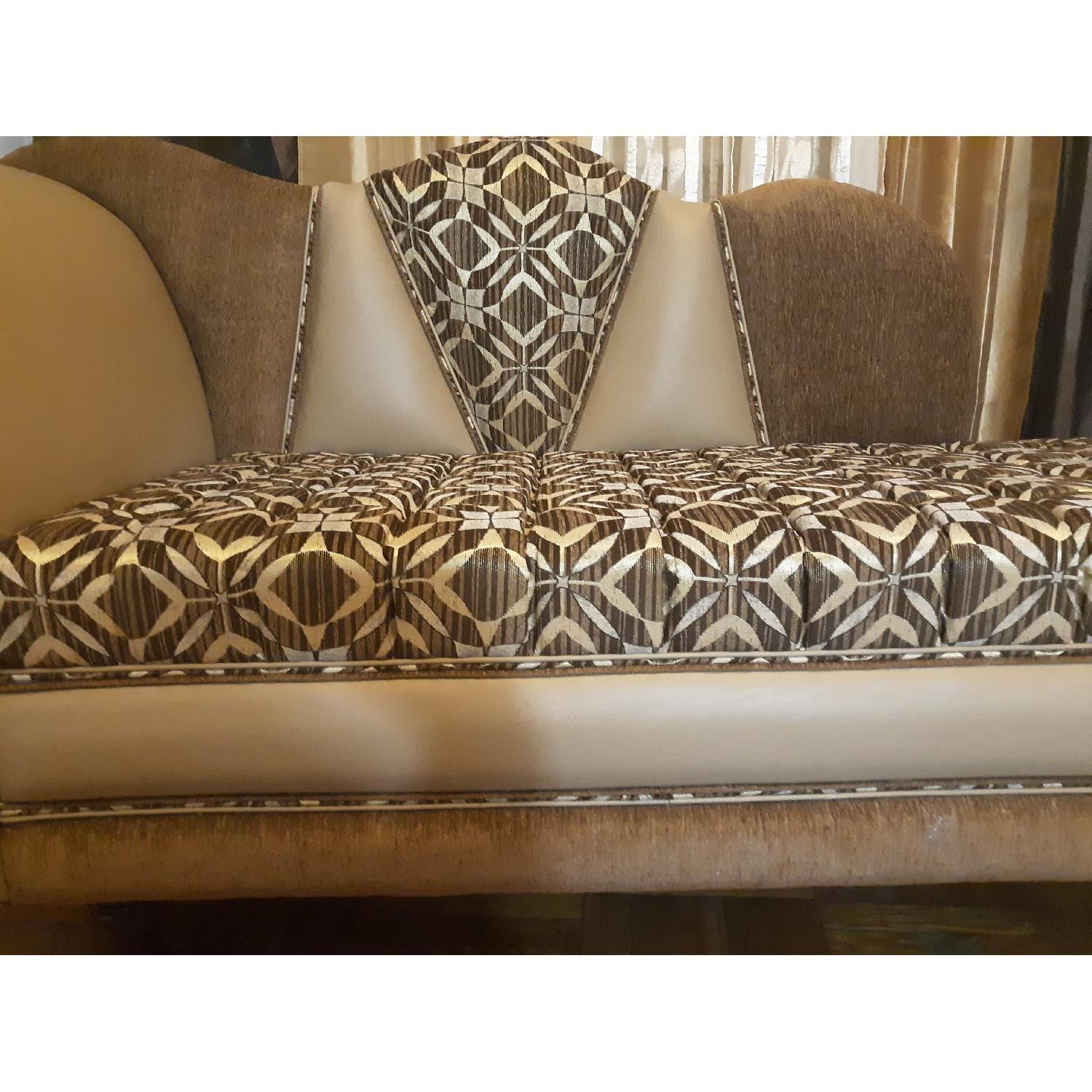 Leather & Fabric Tufted Chaise & Ottoman - image-8