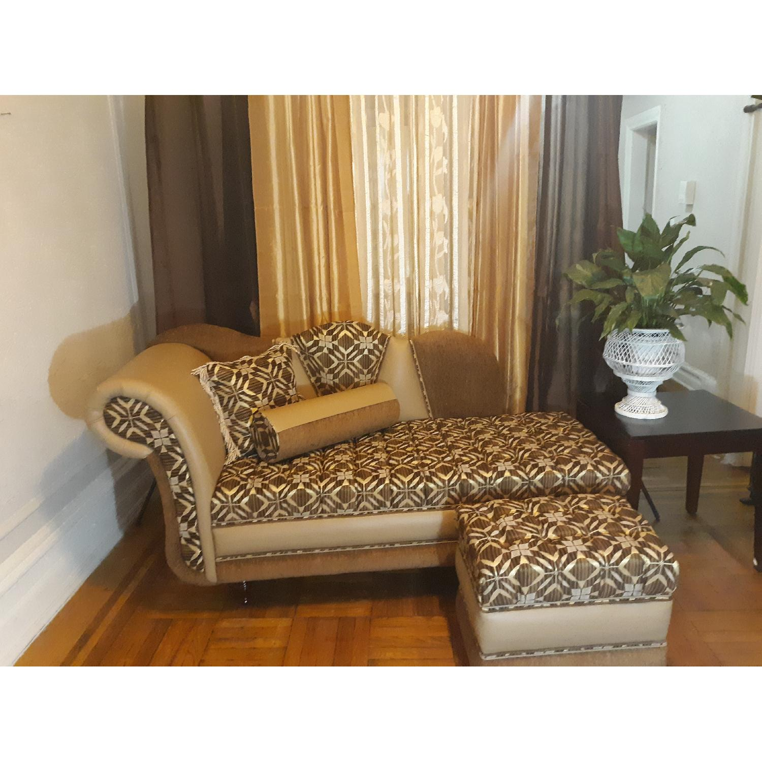 Leather & Fabric Tufted Chaise & Ottoman - image-9