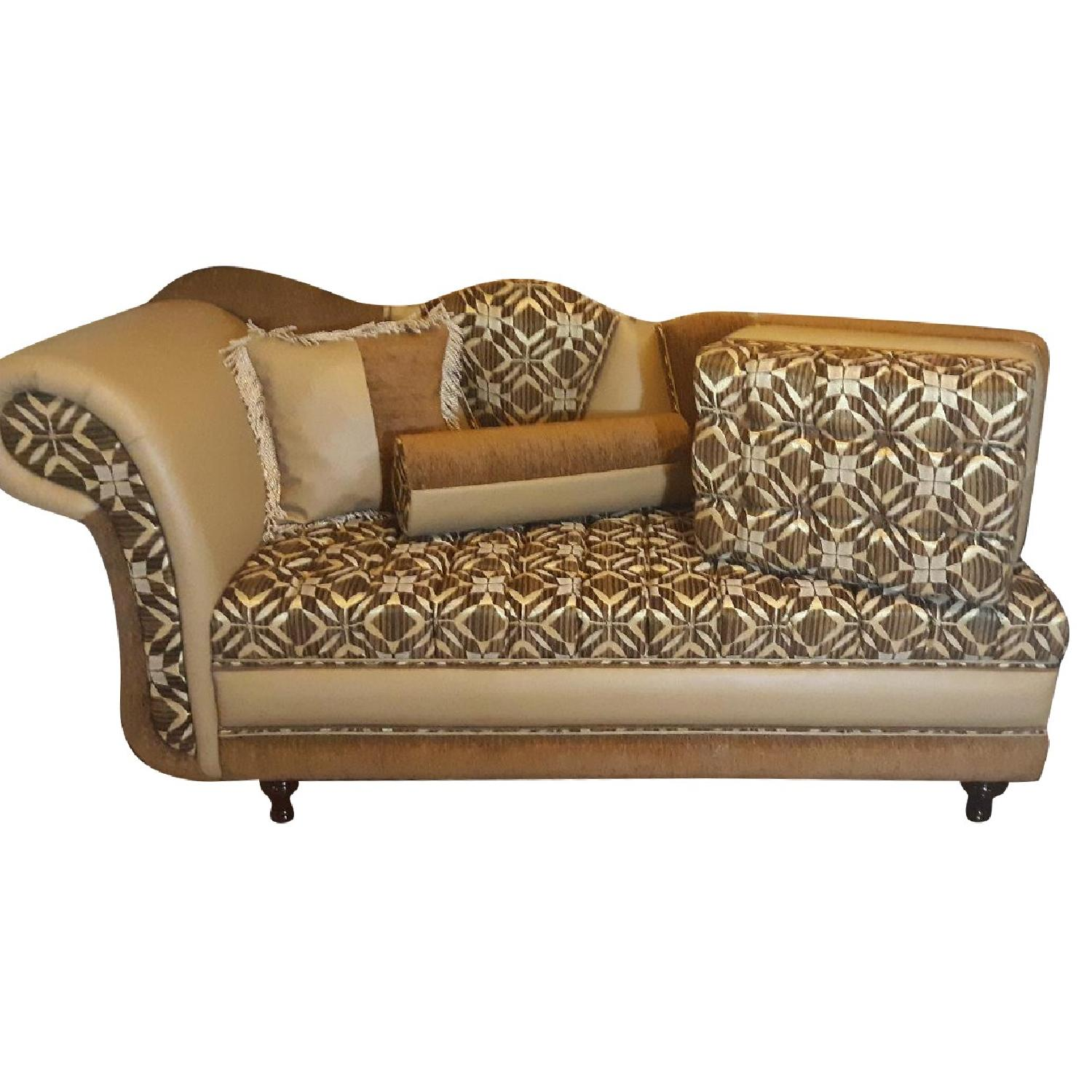 Leather & Fabric Tufted Chaise & Ottoman - image-0