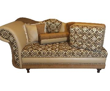Leather & Fabric Tufted Chaise & Ottoman