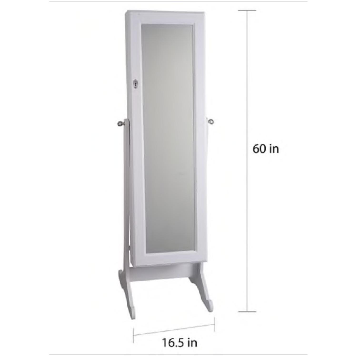 Finley Home White Cheval Mirror Jewelry Cabinet - image-1