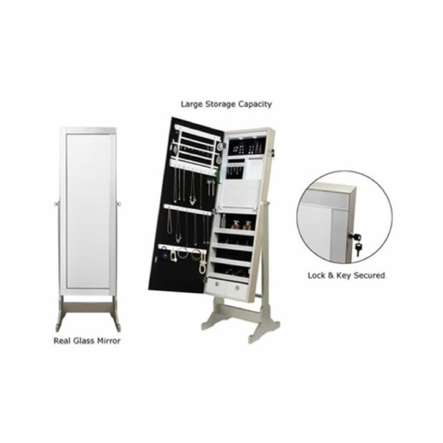 Finley Home White Cheval Mirror Jewelry Cabinet - image-2