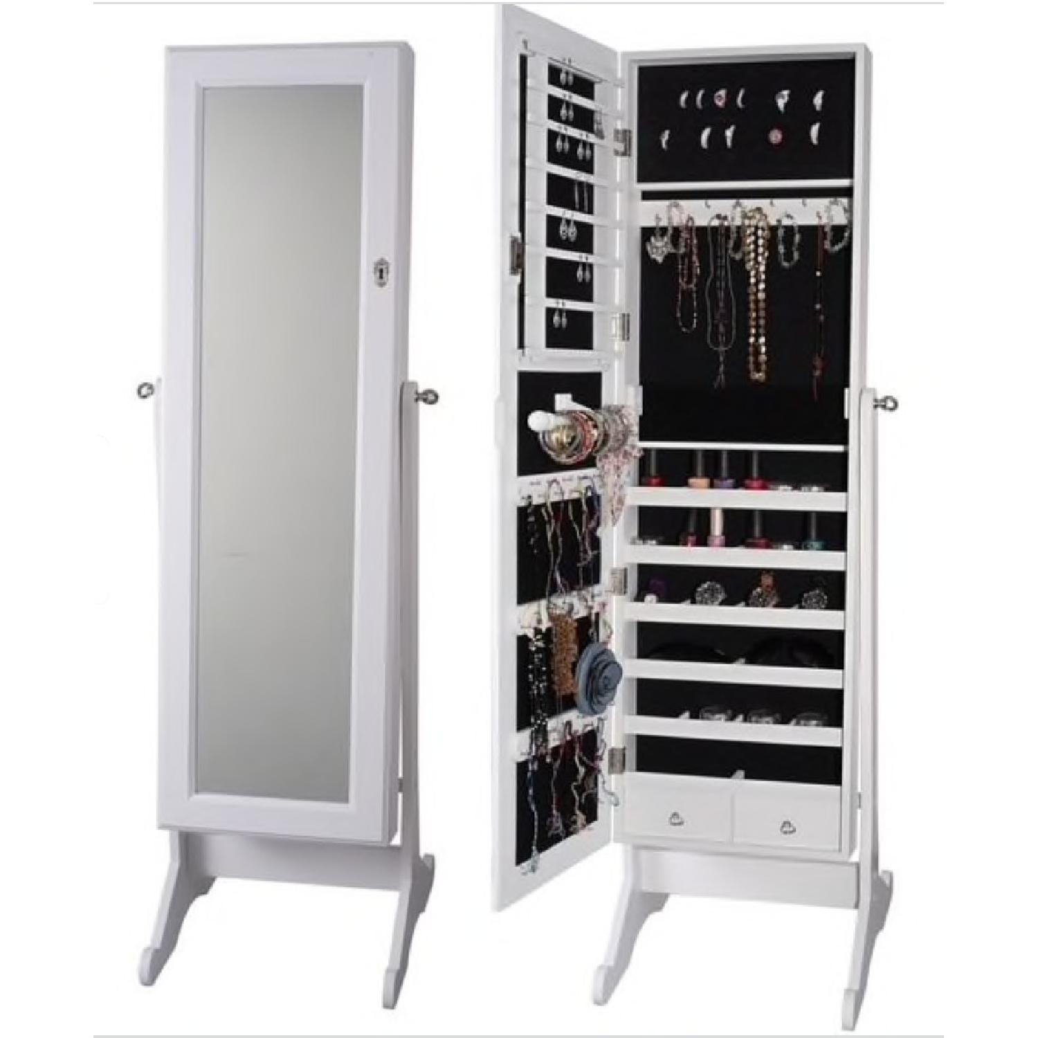 Finley Home White Cheval Mirror Jewelry Cabinet - image-3