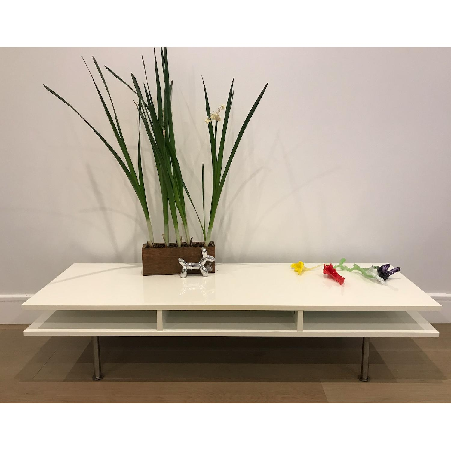 White Lacquered Low Media Console/TV Stand - image-1