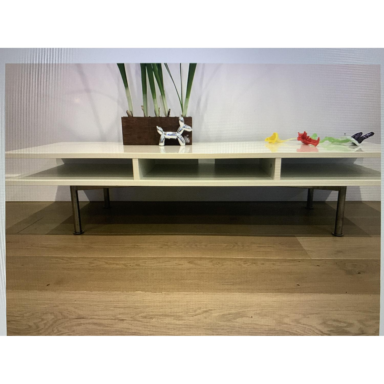 White Lacquered Low Media Console/TV Stand - image-2