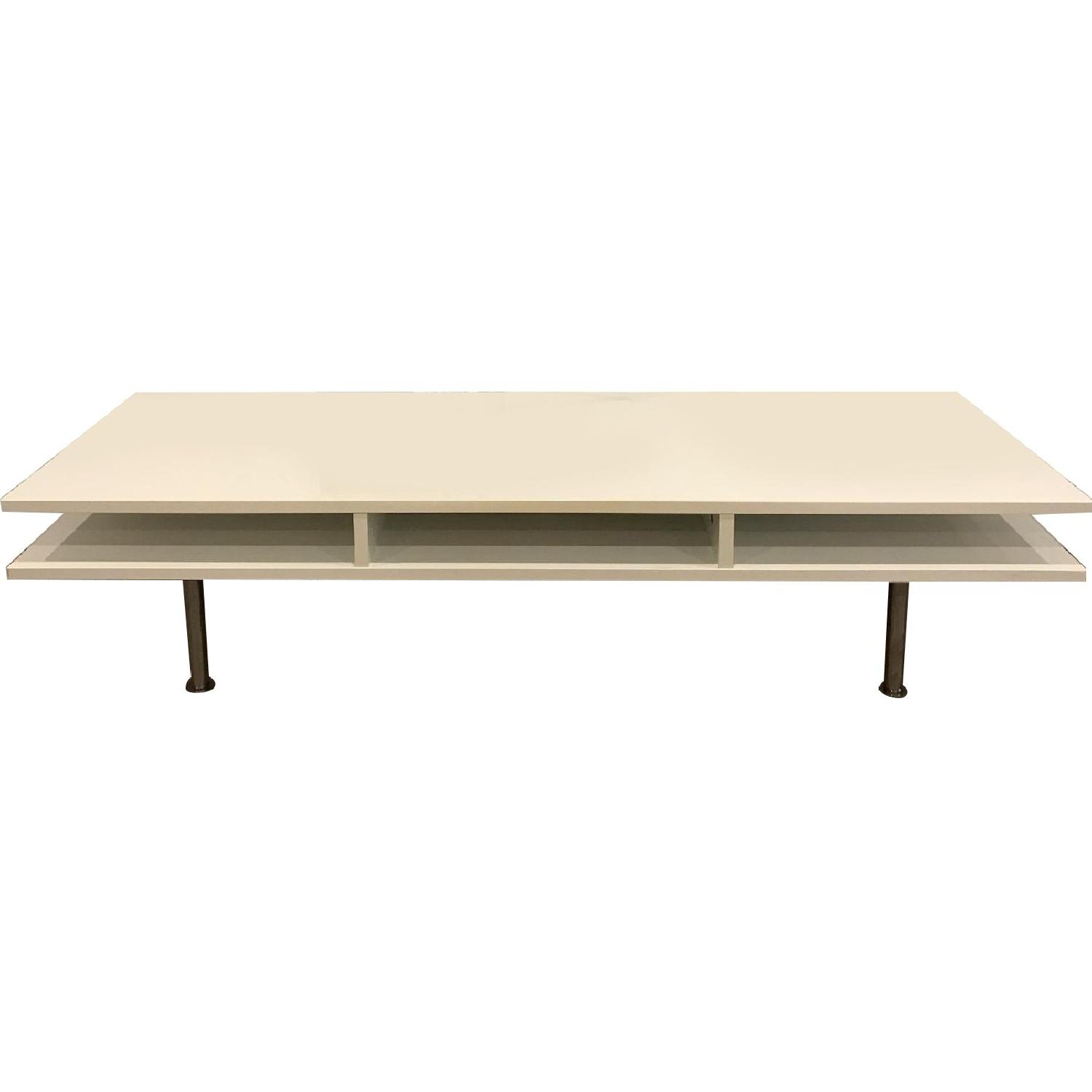White Lacquered Low Media Console/TV Stand - image-0