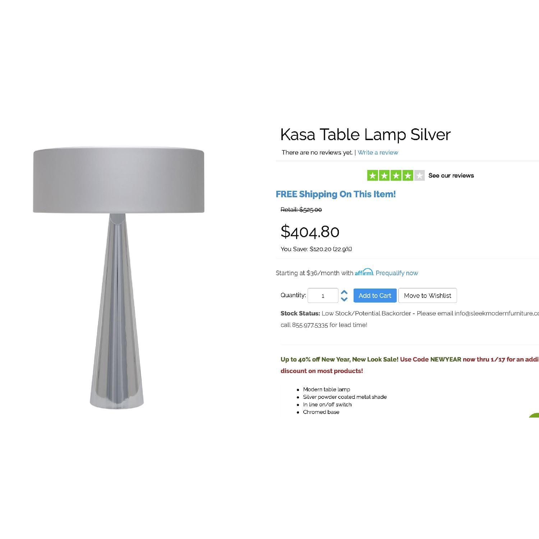 Nuevo Kasa Silver Table Lamp w/ Light Bulbs - image-2