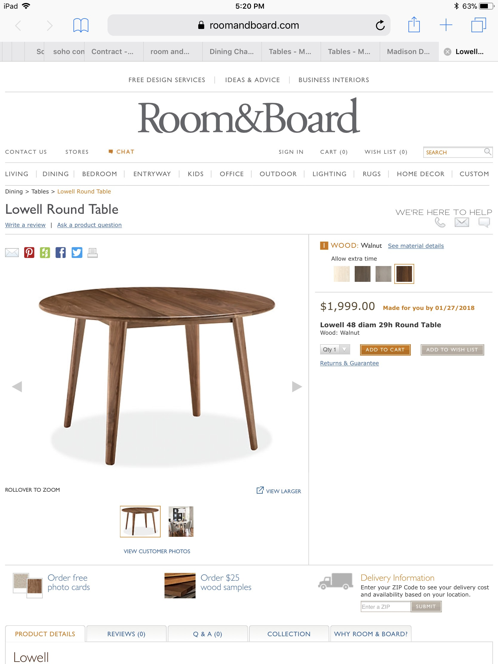 Room & Board Bradshaw Solid Walnut Table