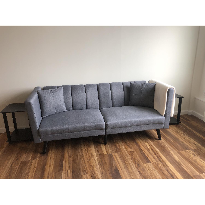 Sofamania Mid Century Modern Convertible Sofa/Futon