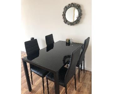 Tempered Glass Top Dining Table w/ 4 Chairs