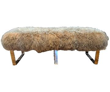Mitchell Gold+ Bob Williams Tibetan Sheepskin & Chrome Bench