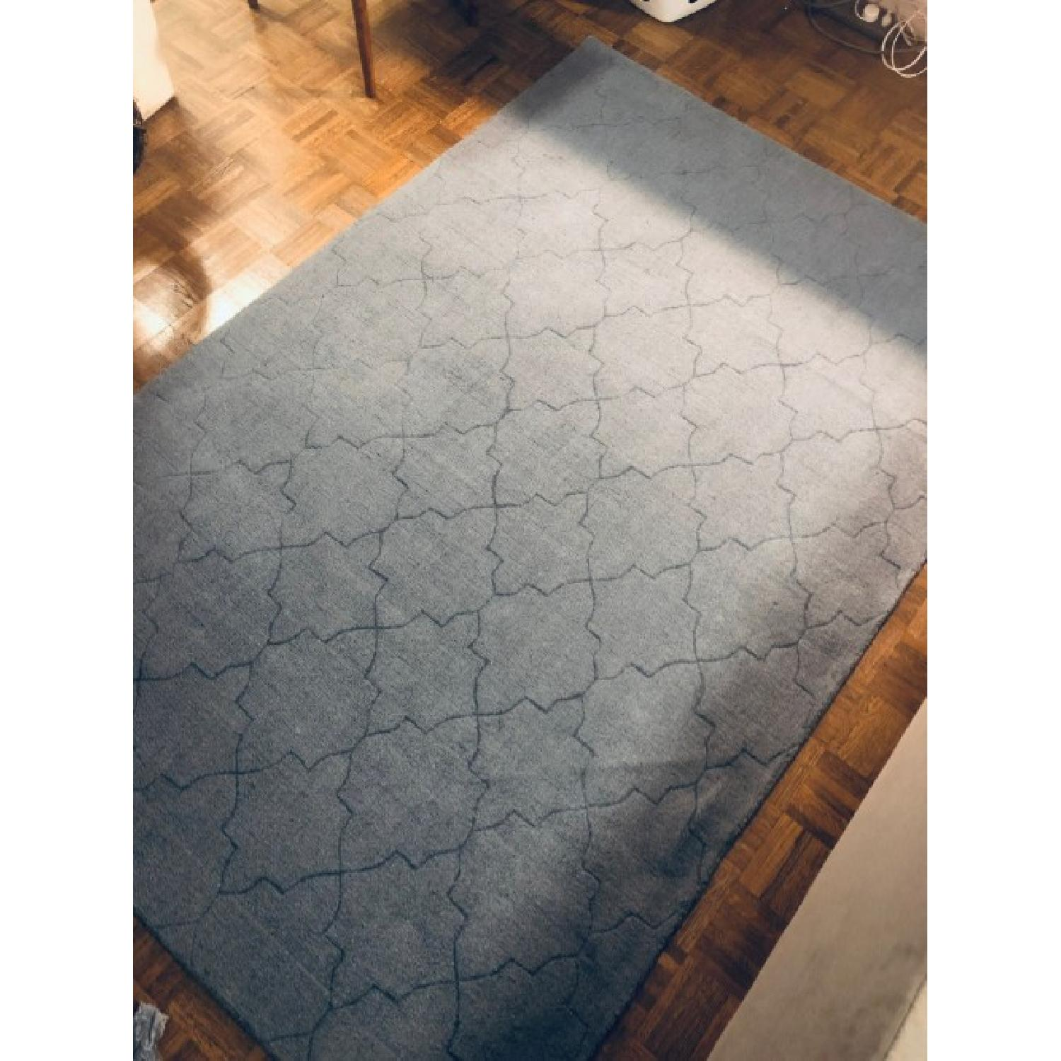 Surya Etching Blue Wool Textured Rug - image-1