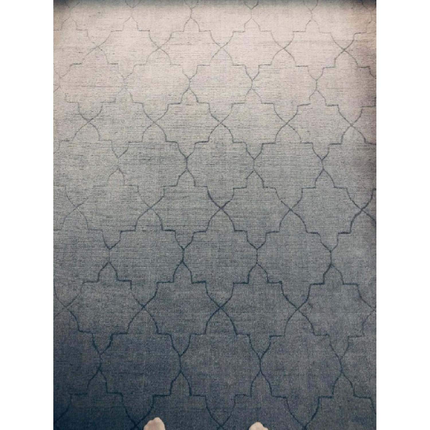 Surya Etching Blue Wool Textured Rug - image-2