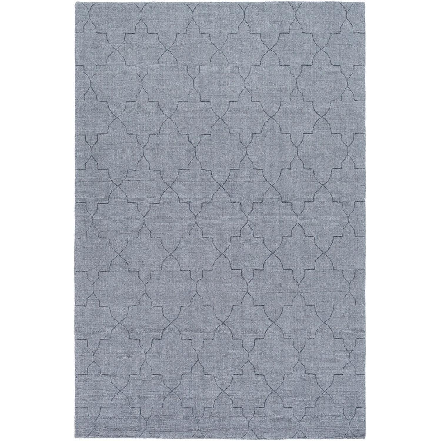 Surya Etching Blue Wool Textured Rug - image-0