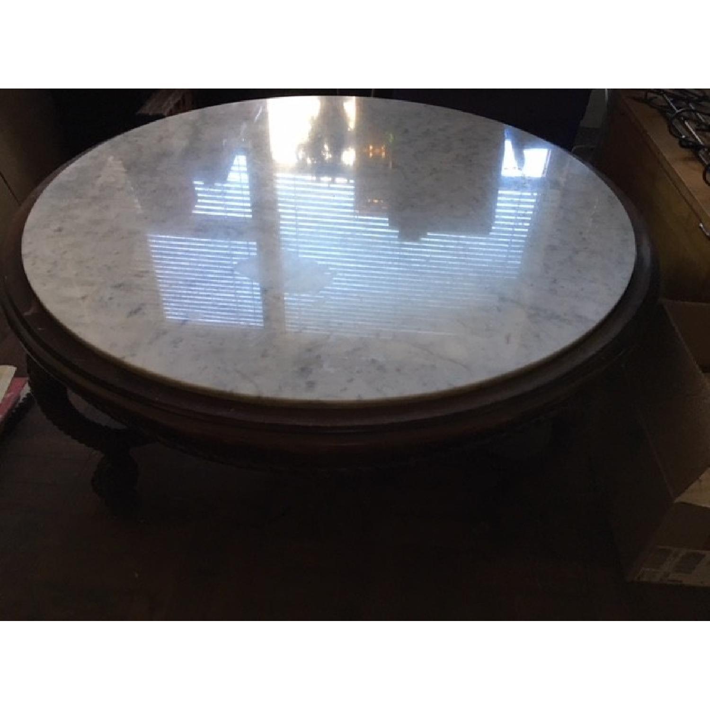Vintage Wood & Marble Top Coffee Table - image-1