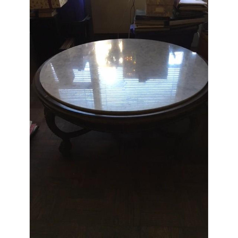Vintage Wood & Marble Top Coffee Table - image-3
