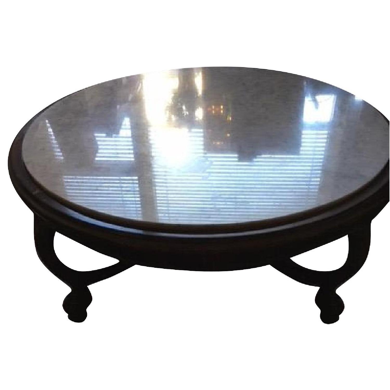 Vintage Wood & Marble Top Coffee Table - image-0