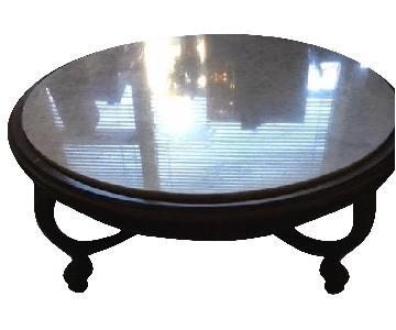 Vintage Wood & Marble Top Coffee Table
