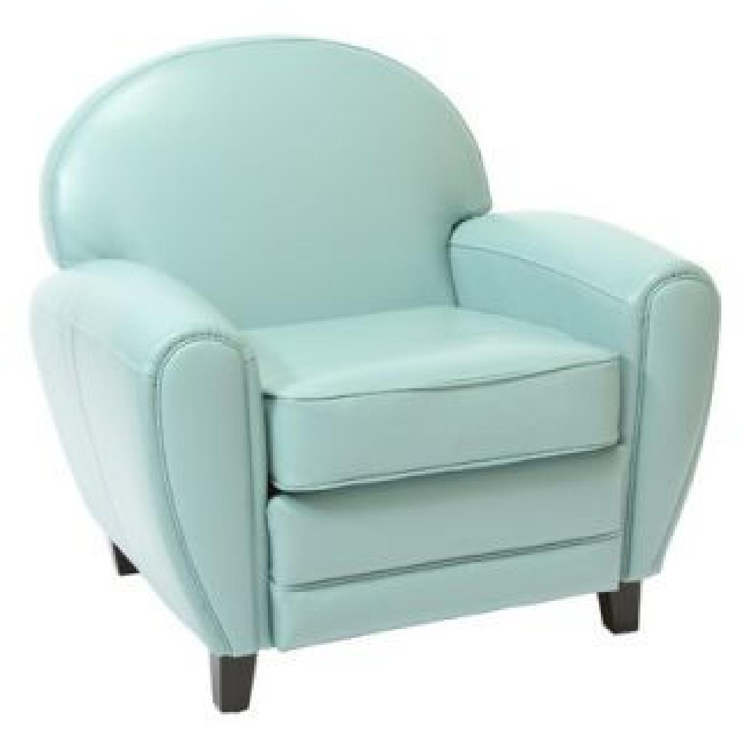 Home Loft Concept Lorenz Leather Cigar Chair in Teal Blue - image-0