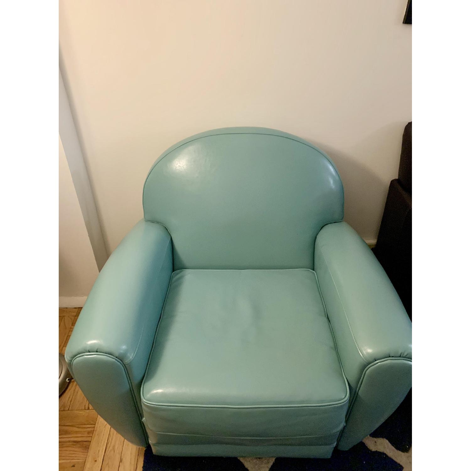 Home Loft Concept Lorenz Leather Cigar Chair in Teal Blue - image-1