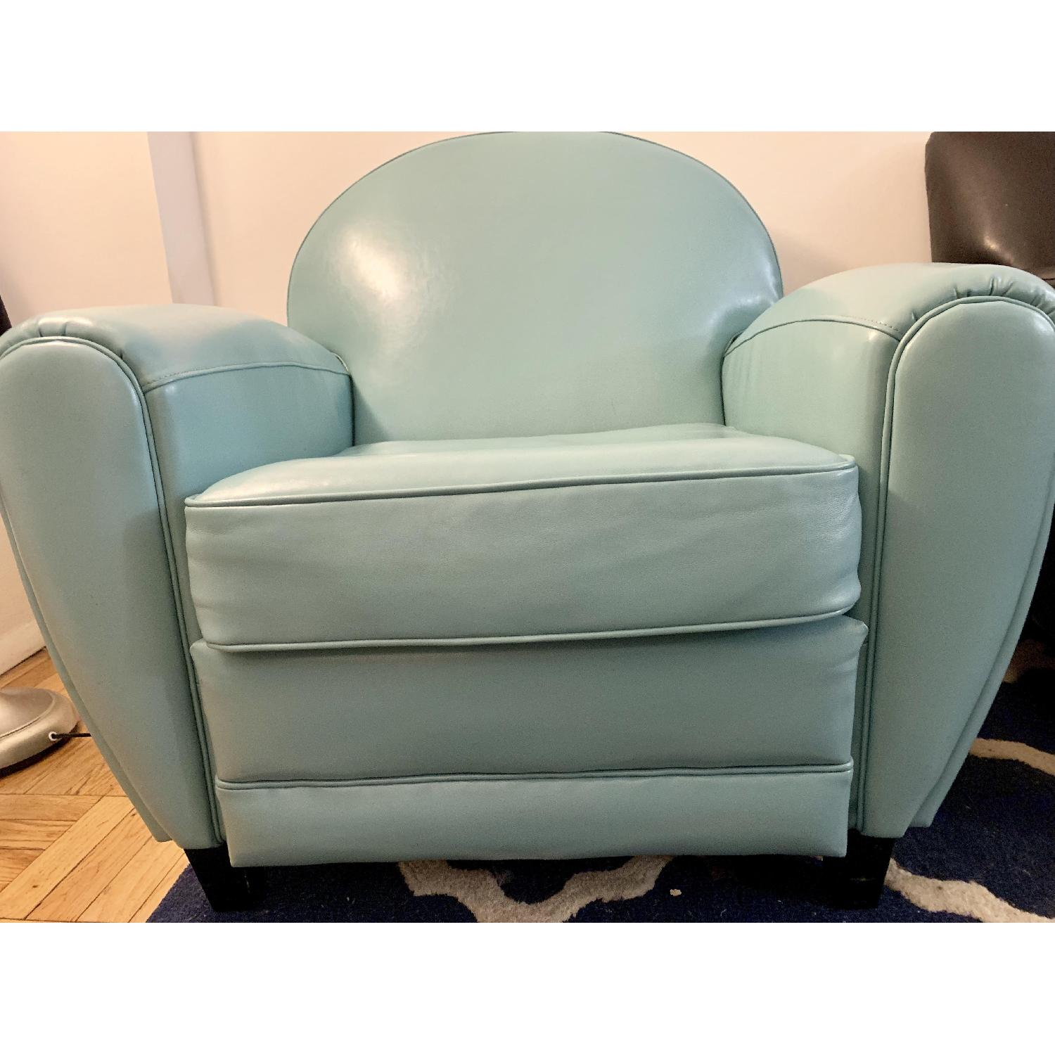 Home Loft Concept Lorenz Leather Cigar Chair in Teal Blue - image-2