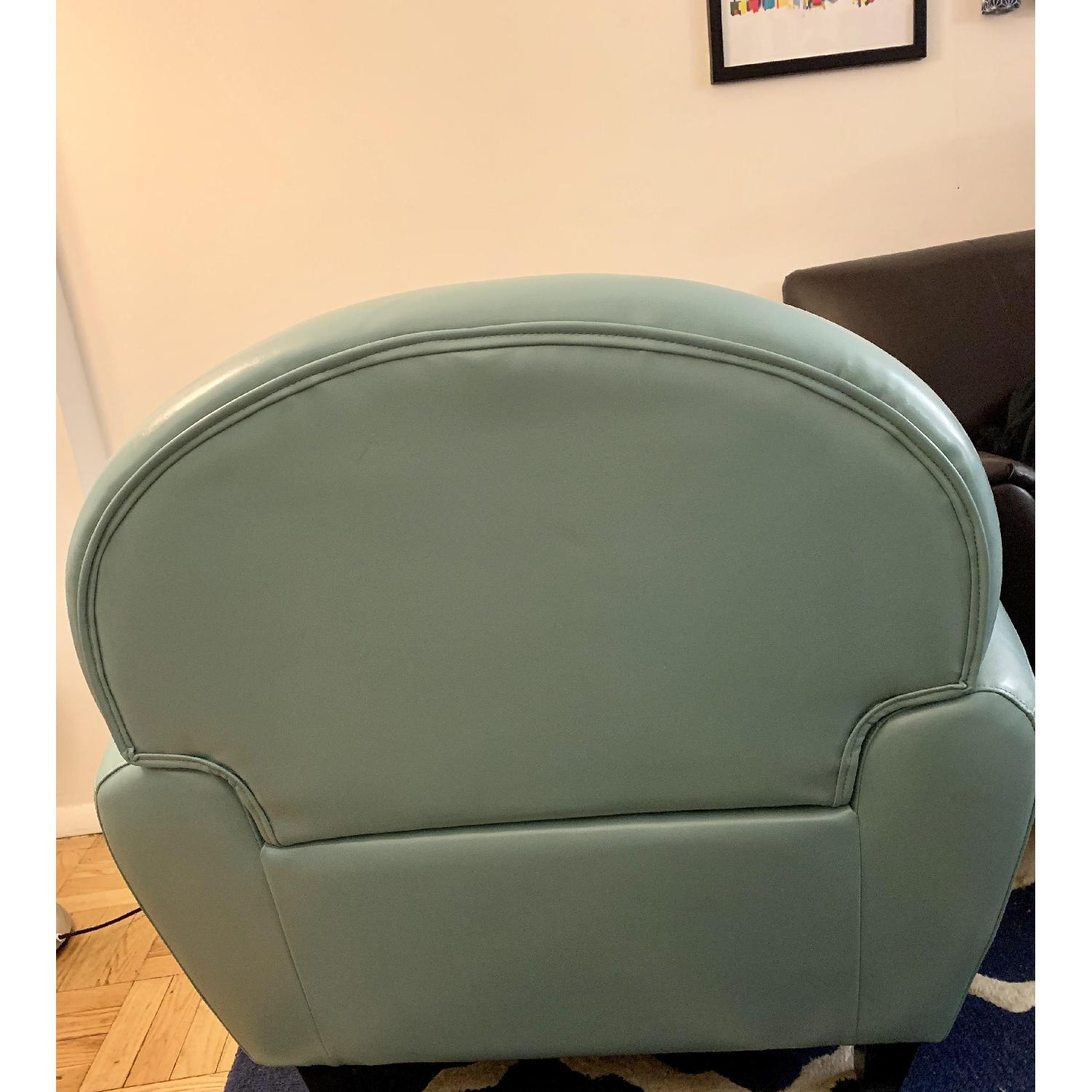 Home Loft Concept Lorenz Leather Cigar Chair in Teal Blue - image-4