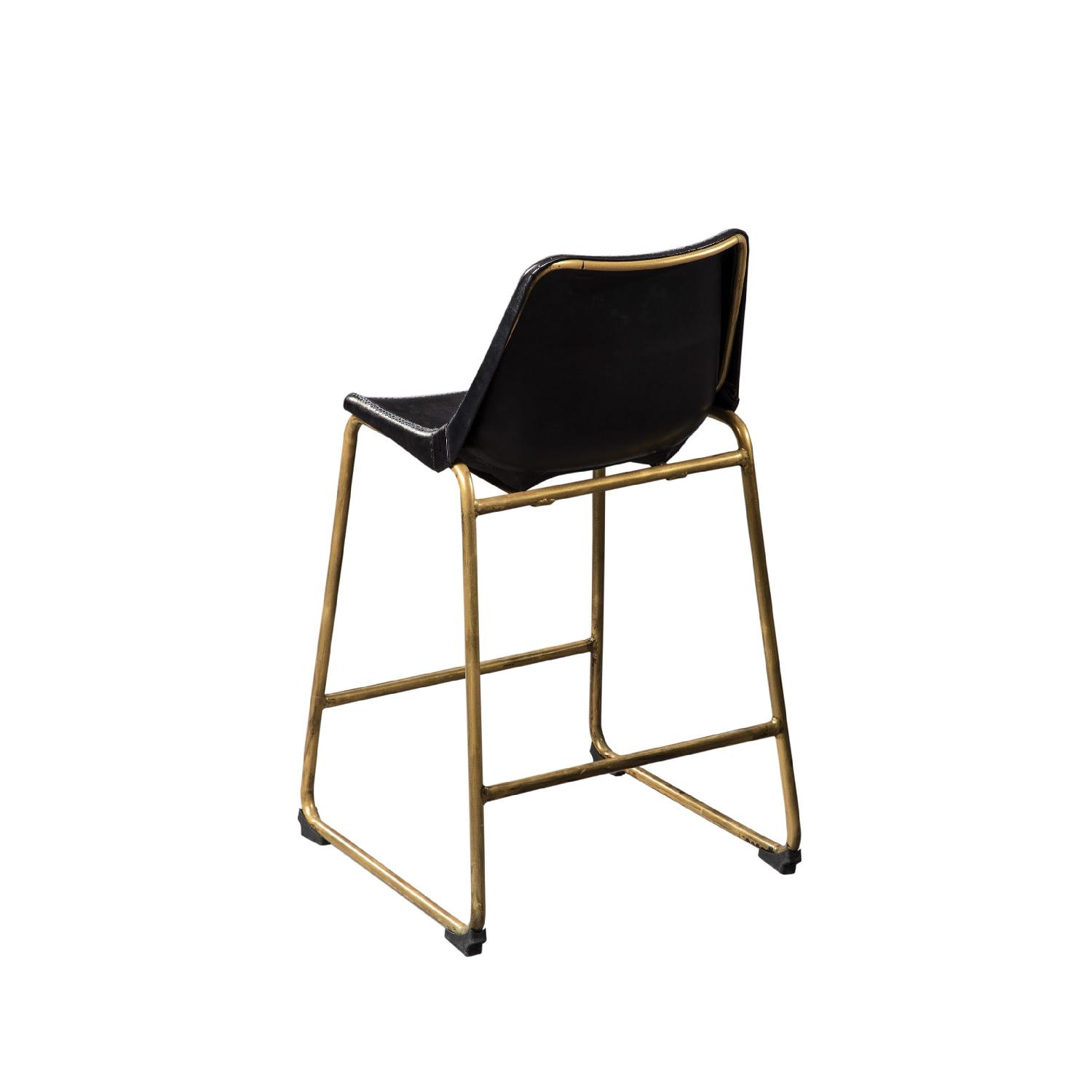 Counter Height Chair w/ Black Seat & Brass Base - image-2