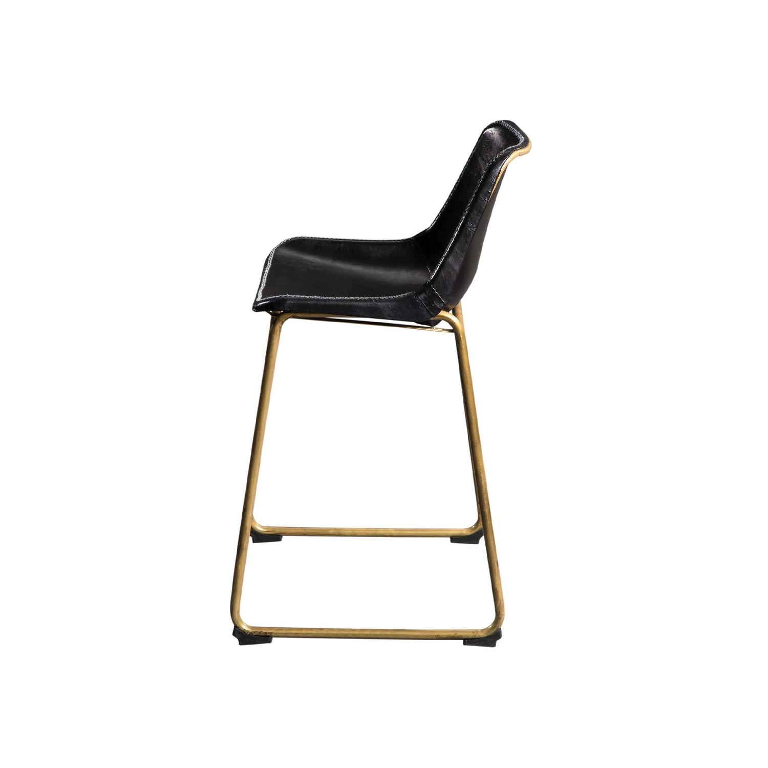 Counter Height Chair w/ Black Seat & Brass Base - image-3