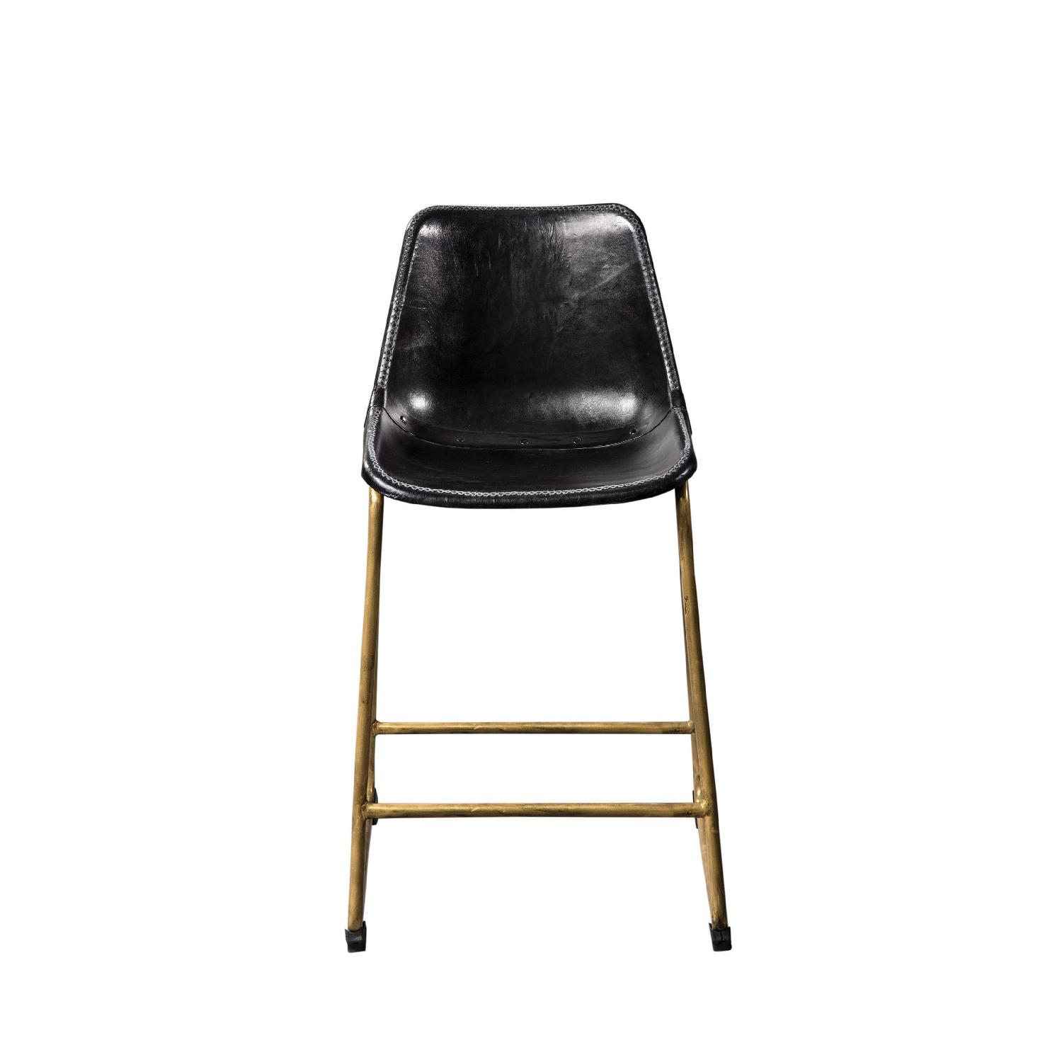 Counter Height Chair w/ Black Seat & Brass Base - image-4