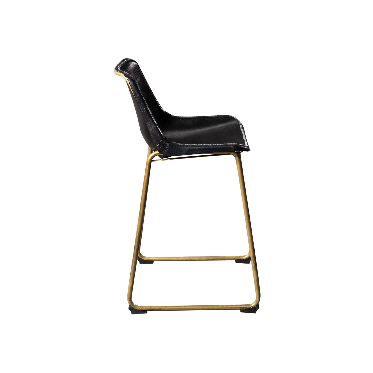 Counter Height Chair w/ Black Seat & Brass Base - image-5