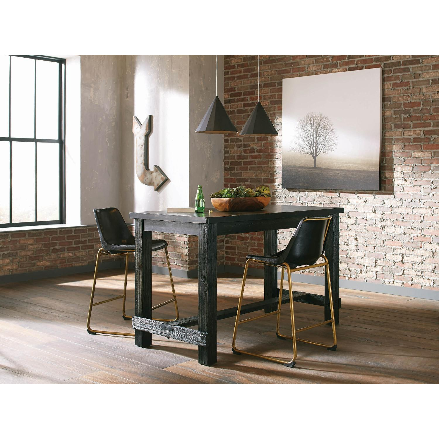 Counter Height Chair w/ Black Seat & Brass Base - image-6