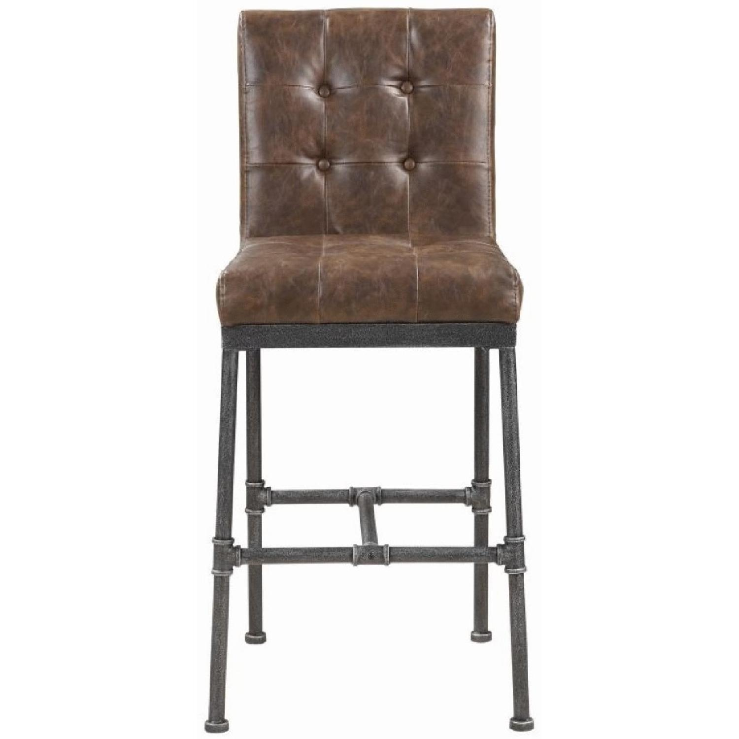 Bar Chair in Padded Brown Leatherette Upholstery - image-0