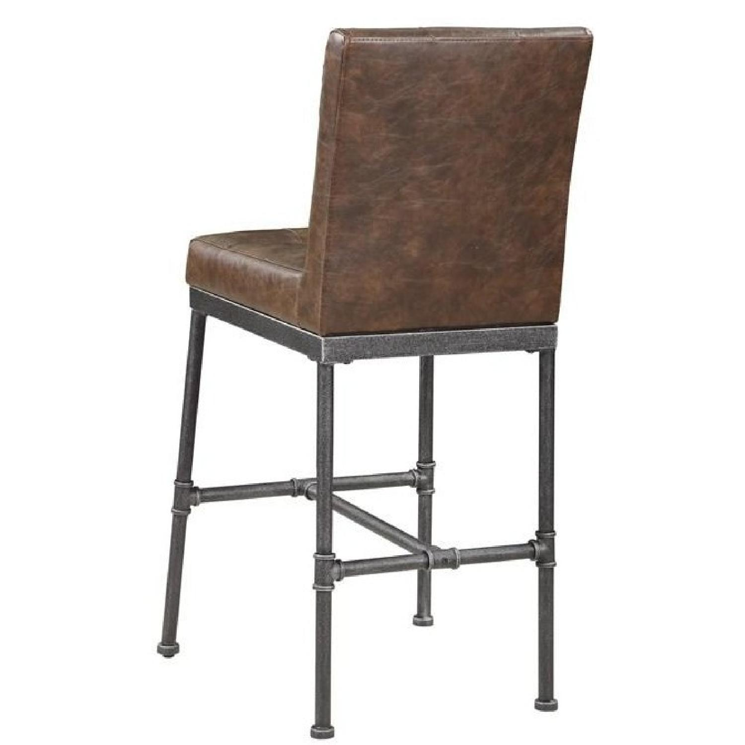 Bar Chair in Padded Brown Leatherette Upholstery - image-2