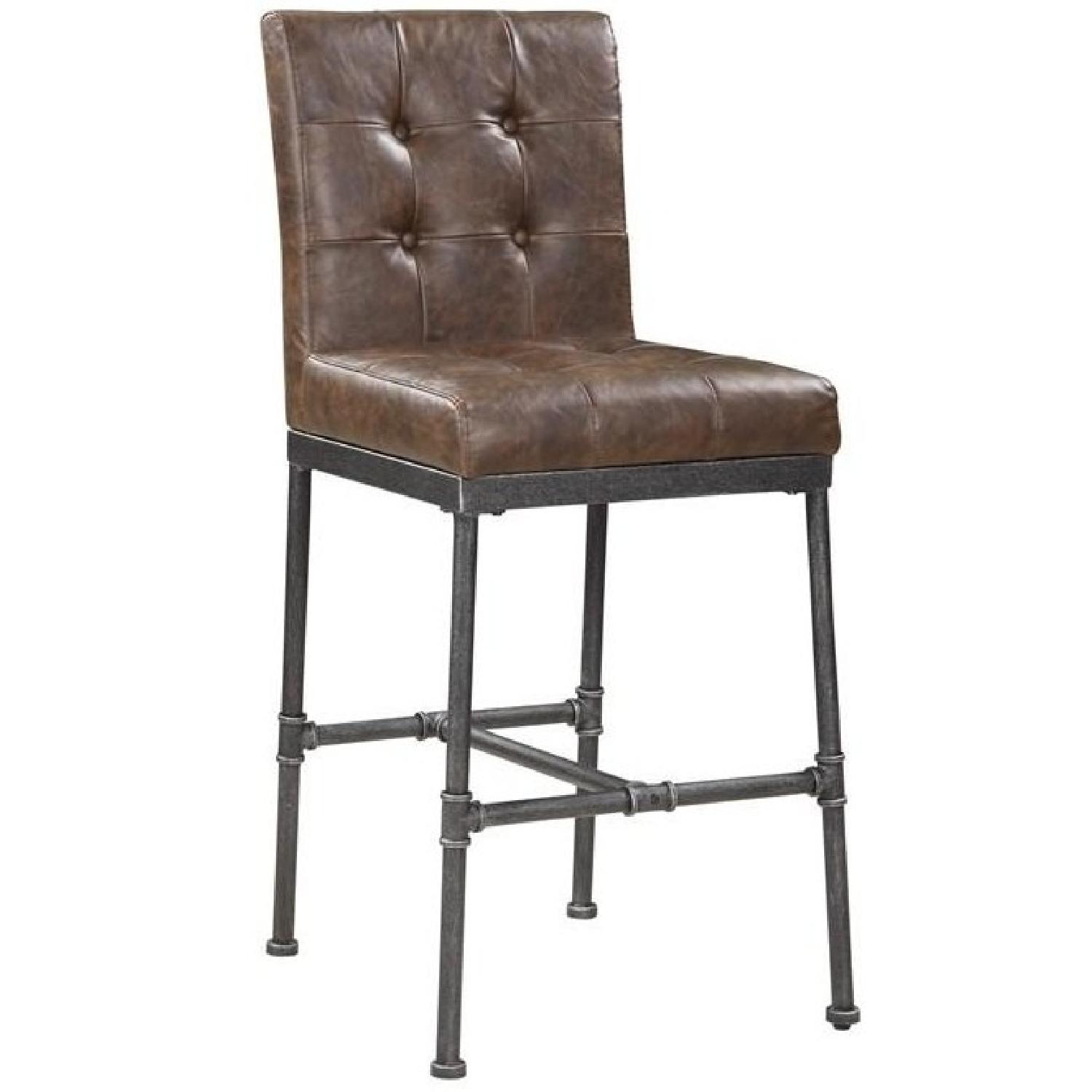 Bar Chair in Padded Brown Leatherette Upholstery - image-4