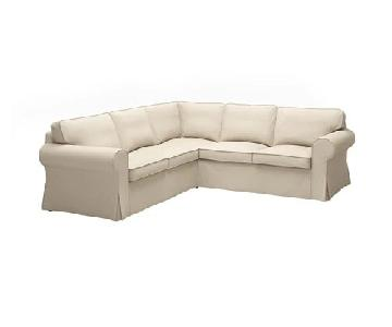 Ikea Beige 3-Piece Slipcovered Sectional Sofa