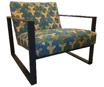 CB2 Artisan Armchair w/ Quilted Pattern Fabric