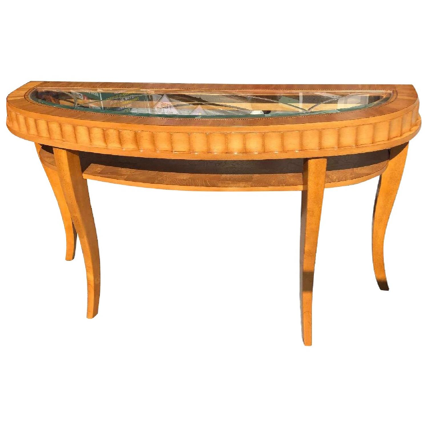 Inlaid Wooden Console Table w/ Engraved Glass &Shelf - image-0