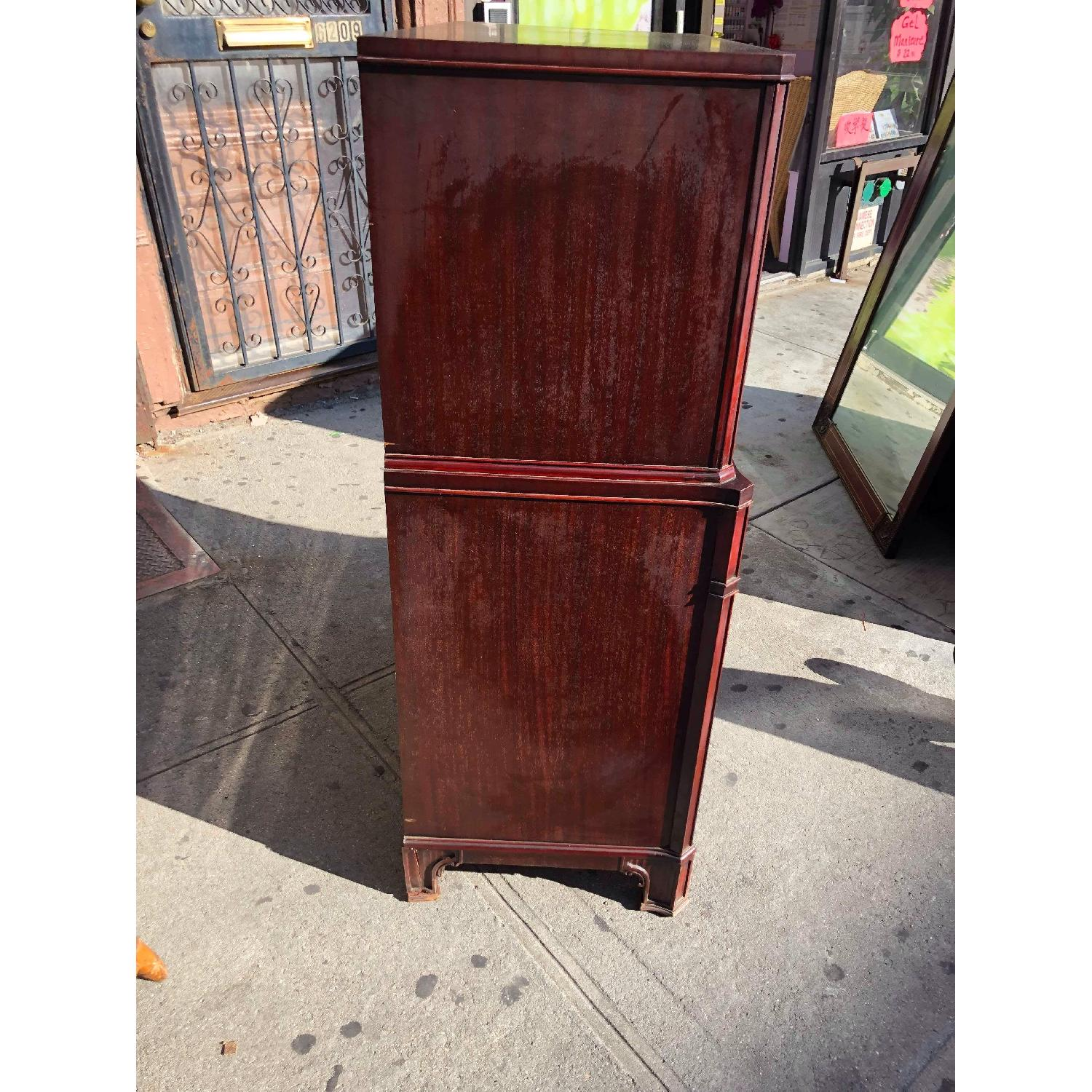 Antique 1930s Cherry Wood Leather Front Armoire - image-2