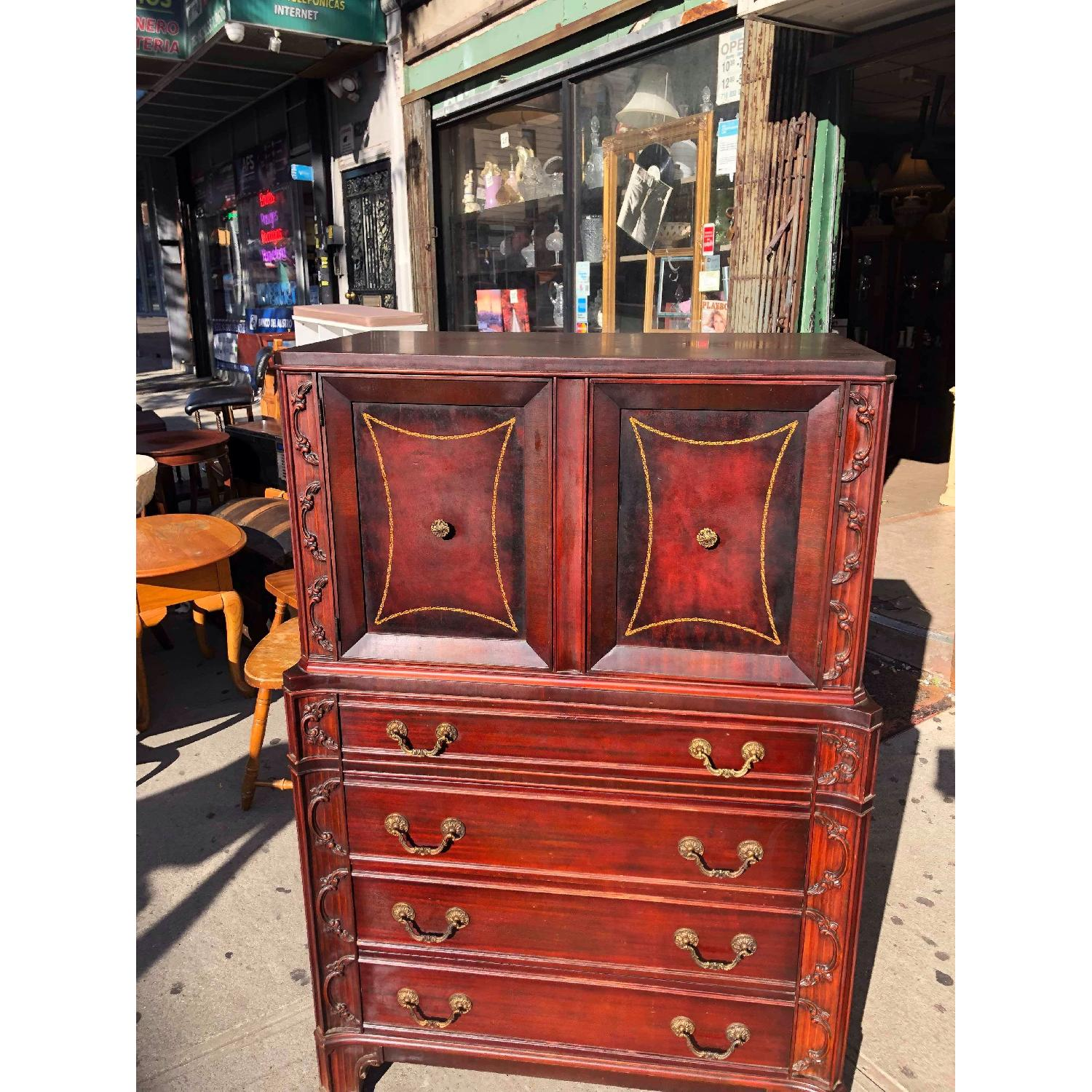 Antique 1930s Cherry Wood Leather Front Armoire - image-4