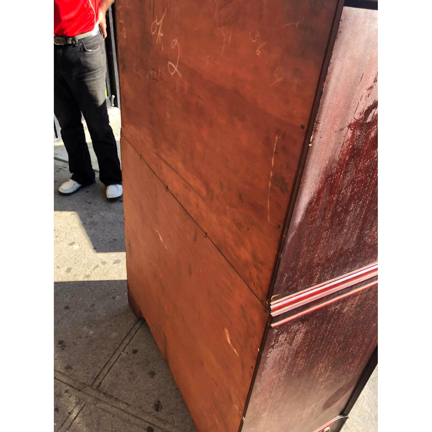Antique 1930s Cherry Wood Leather Front Armoire - image-5
