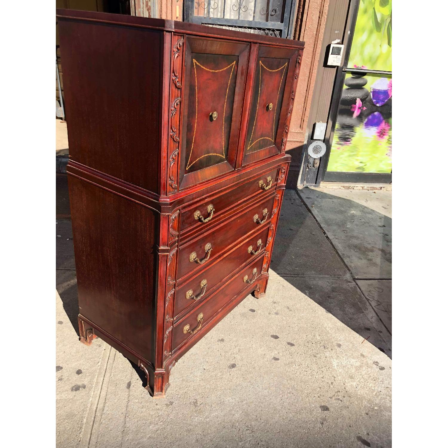 Antique 1930s Cherry Wood Leather Front Armoire - image-6