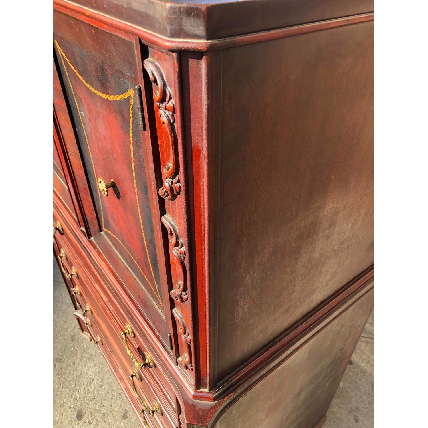 Antique 1930s Cherry Wood Leather Front Armoire - image-7