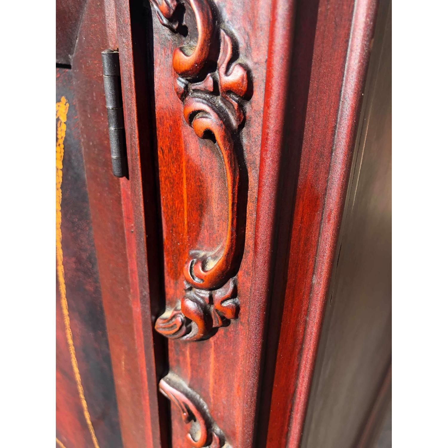 Antique 1930s Cherry Wood Leather Front Armoire - image-8