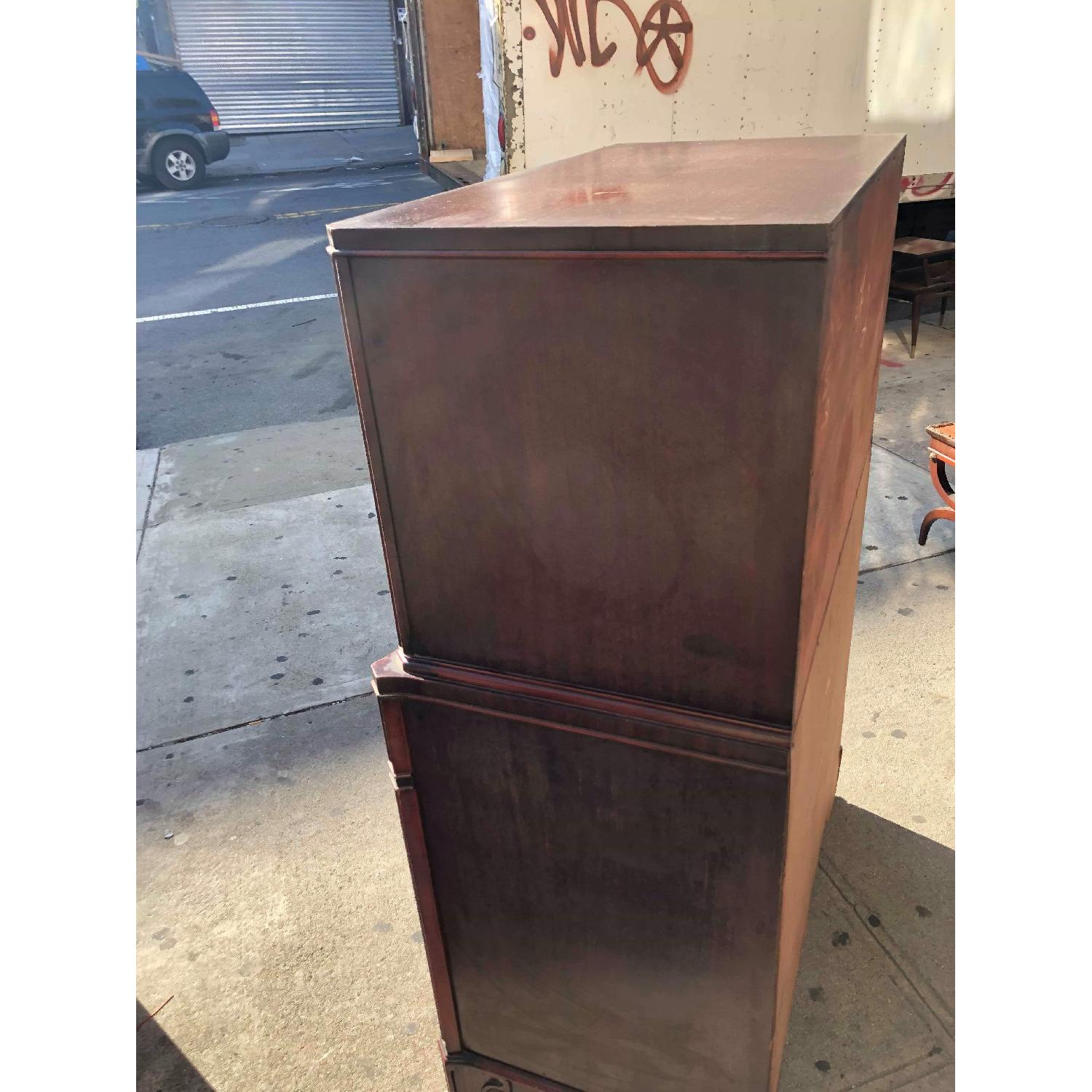 Antique 1930s Cherry Wood Leather Front Armoire - image-9