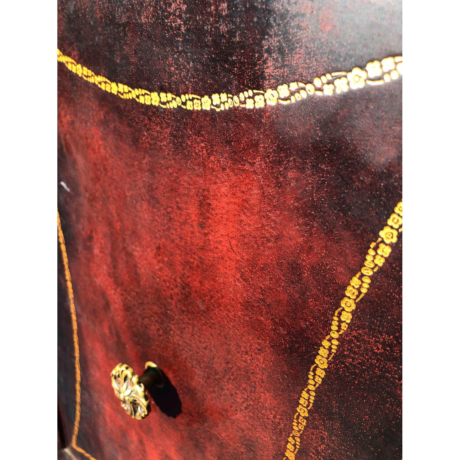 Antique 1930s Cherry Wood Leather Front Armoire - image-11