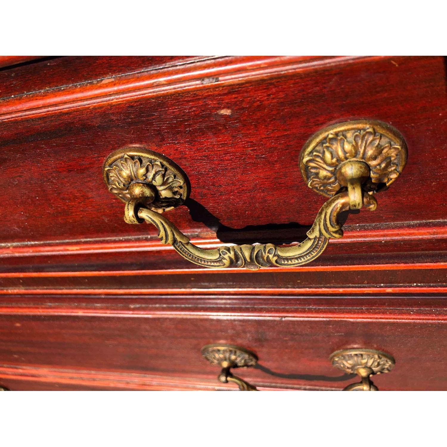 Antique 1930s Cherry Wood Leather Front Armoire - image-12