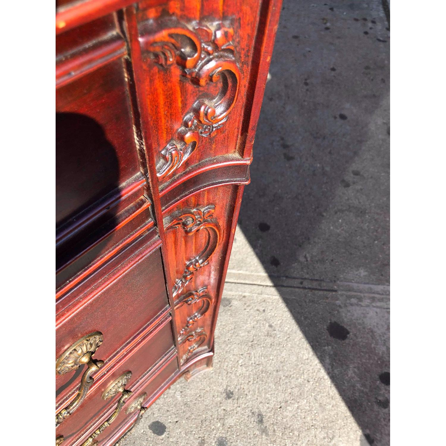 Antique 1930s Cherry Wood Leather Front Armoire - image-15
