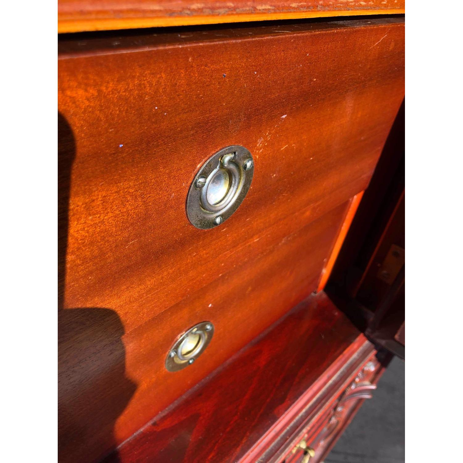 Antique 1930s Cherry Wood Leather Front Armoire - image-17