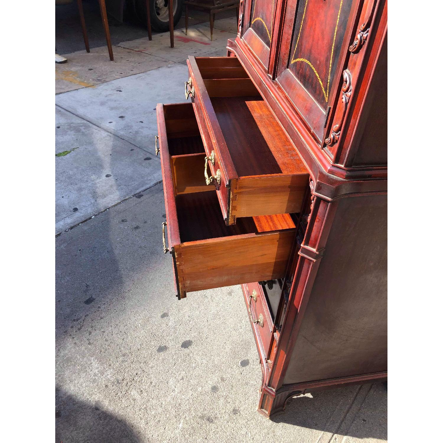 Antique 1930s Cherry Wood Leather Front Armoire - image-20