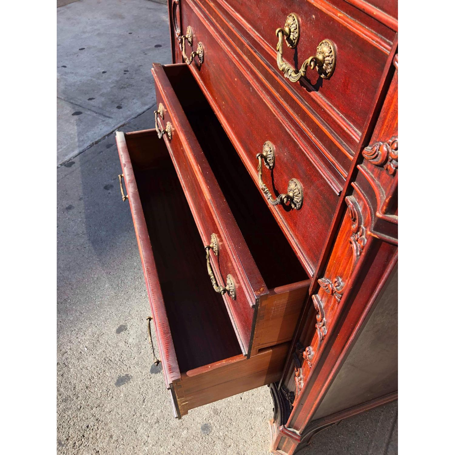 Antique 1930s Cherry Wood Leather Front Armoire - image-21